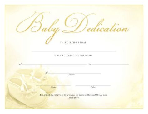 Baby Dedication Certificate Baby Dedication Certificate Template