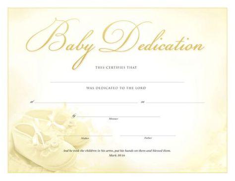 Baby Dedication Certificate Baby Dedication Certificate Template