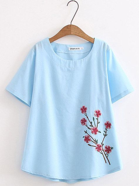 Embroidery Casual Short Sleeve T-Shirt - White / 3XL