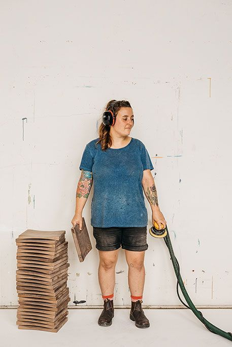 Photographed by Michael Piazza.   See more of Michael Piazza's portrait photography online   SAINT LUCY Represents #portraitphotography #portrait #portraitphotographer #headphones #wood #working