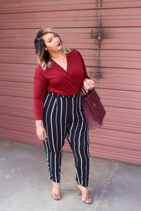 b6a640e3d07 Plus size striped pants Beauticurve. For more inbetweenie and plus size  style ideas