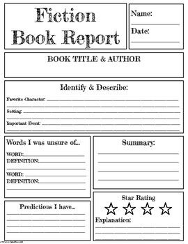 Fiction Non Fiction Book Report By Uk Teaching Resources Tes