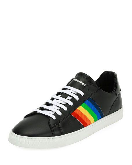 Rainbow-Stripe Low-Top Sneakers, Black