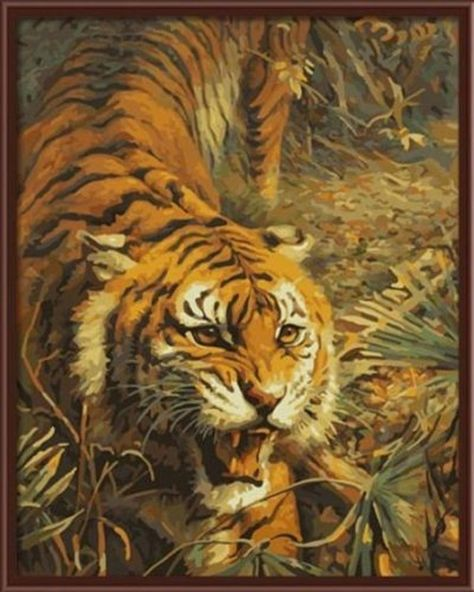 Moon Tiger DIY Paint By Number Kit On Canvas Oil Painting Home Wall Decor 16X20/""