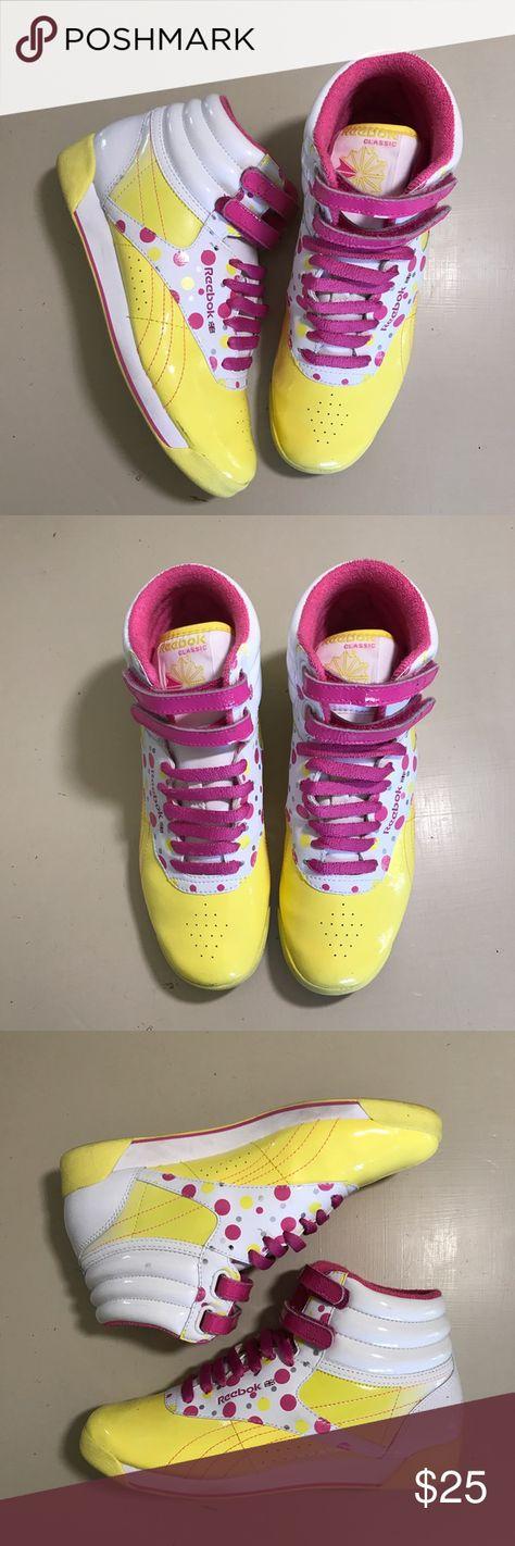 Hot pink Reebok classic hi top Velcro