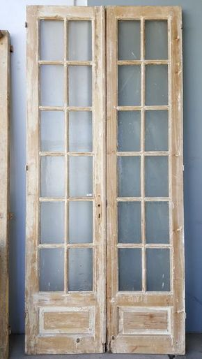 Pair Of 12 Lite Washed Wood French Doors Old French Doors Wooden French Doors Wood French Doors
