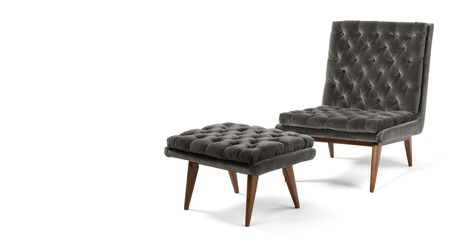 Spectre Sessel Mit Hocker Samt In Betongrau Seating Sessel Mit Hocker Sessel Und Armlehnen