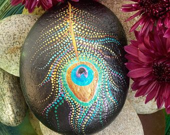 Peacock Feather, Painted Stone, Dot Painting, Feather