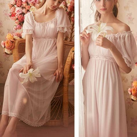 Womens' Summer Lace Vintage Nightgown Victorian Princess Nightdress Chemises Babydoll Pajamas Lounger Sleepwear (Pink, Large) ** To check out additionally for this item, visit the photo link. (This is an affiliate link). Ropa Shabby Chic, Night Gown Dress, Nightgown Pattern, Purple Lingerie, Sexy Lingerie, Fantasy Gowns, Vintage Nightgown, Night Outfits, Outfit Night