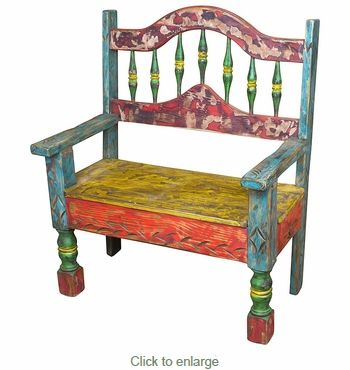 Strange Mexican Rustic Multi Color Painted Wood Bench With Arched Machost Co Dining Chair Design Ideas Machostcouk
