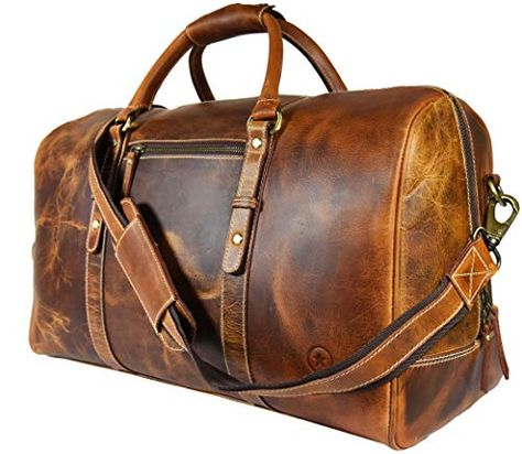 de64bcbea0 Leather Travel Duffle Bag Gym Overnight Weekend Luggage Carry on Airplane  Underseat Bag