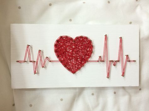 String Art Rhythm Heart Beat Sign Wall Art Decor от OneRoots