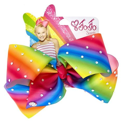 Be bold, bright, and beautiful with this big rainbow bow by JoJo Siwa! This statement making bow will go with everything in your wardrobe and add a little extra bling to your look with all over rhinestones!