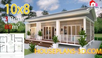 House Design 10x8 With 2 Bedrooms House Plans 3d House Plans Gable Roof House Home Design Plans