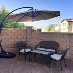 Amazon Com Grand Patio Napoli Deluxe 11 Ft Curvy Aluminum Offset Umbrella Patio Cantilever Umbrella With Base Champag Patio Offset Umbrella Outdoor Gardens