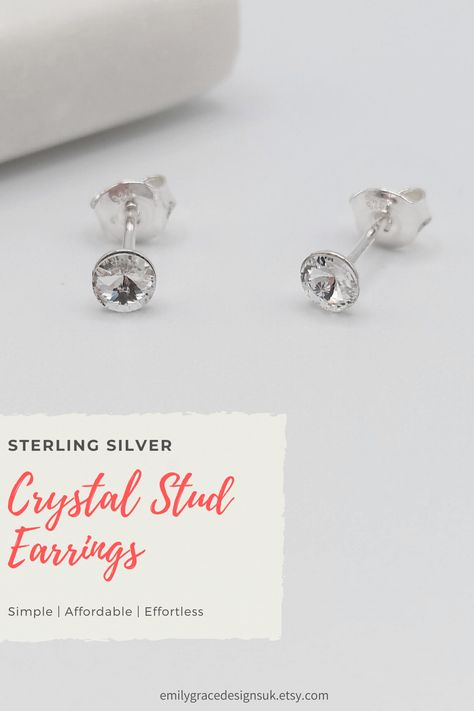 Beautiful handmade sterling silver stud earrings made with 4mm Swarovski® Rivoli crystals in the timeless Crystal. They are simple and elegant, making them easy to wear both day to day, or to add that bit of sparkle to a night out. A perfect gift for any occasion, or to treat yourself! With FREE UK delivery shop now at Emily Grace Designs. #studearrings #swarovskiearrings #handmadeearrings