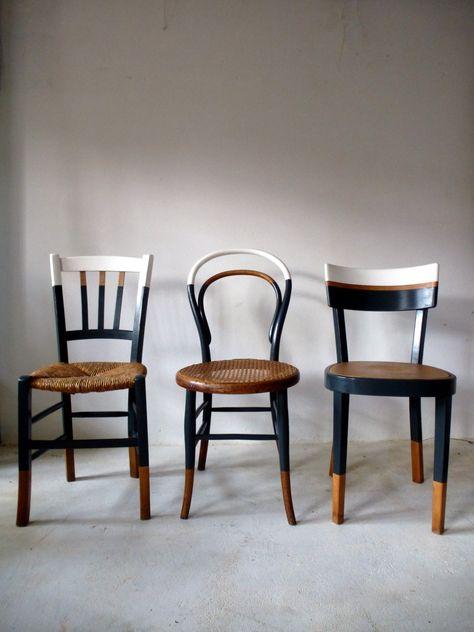 Set of 6 vintage mismatched vintage chairs / Kitchen / bistrot reloo . - Set of 6 vintage mismatched vintage chairs / Kitchen / bistrot reloo … -