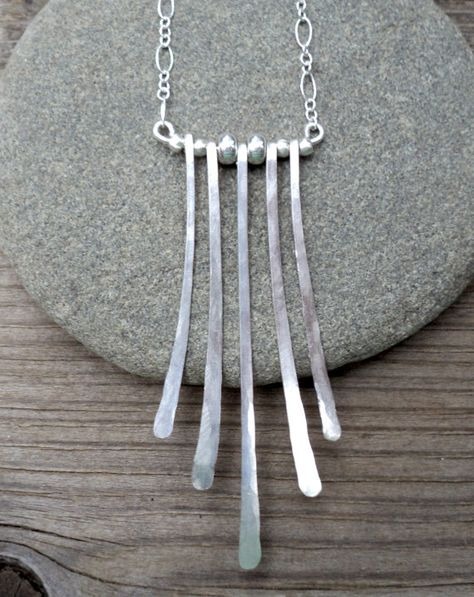 Hammered sterling silver fan necklace with by ARTdesignsbyannart, $65.00
