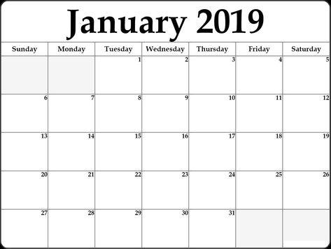 Printable January 2019 Calendar January 2019 Calendar Printable