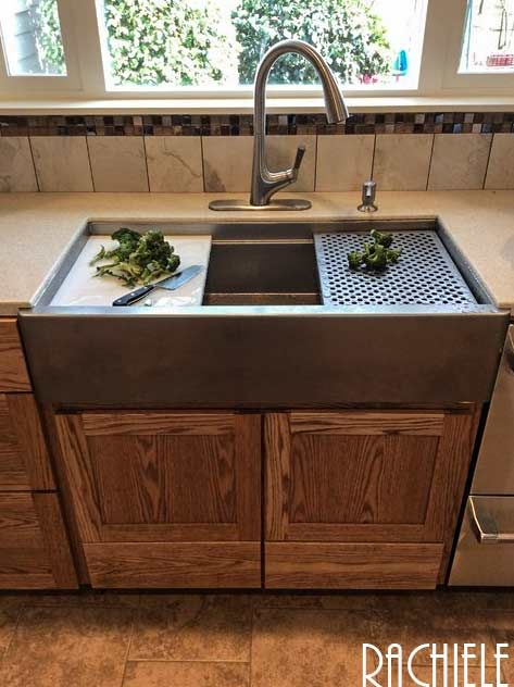 Hammered Zinc Farm Sink By Rachiele Workstationsinks