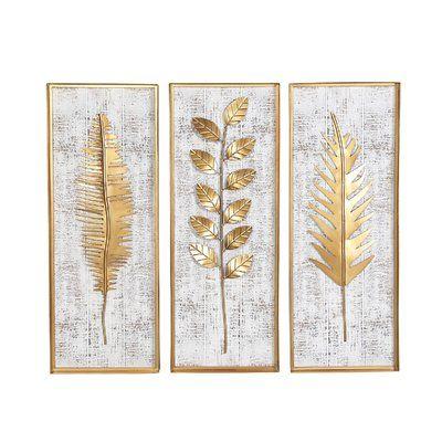 Everly Quinn 3 Piece Rectangular Metal Wall Decor Set Feather Wall Decor Wall Decor Set Gold Wall Decor