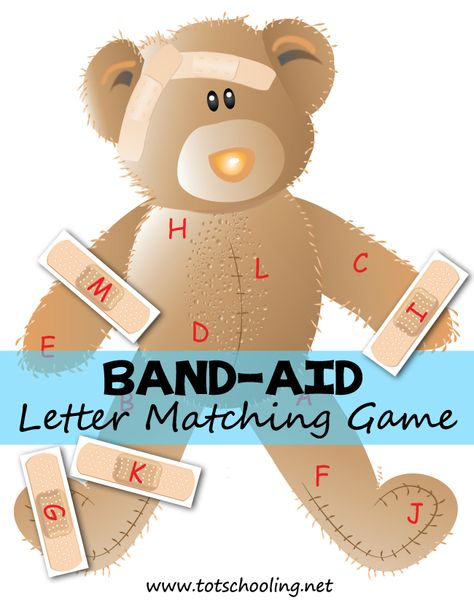Band-Aid Bear Alphabet Matching Free Band-aid Letter Matching Game (upper-case and lower-case versions are available in the PDF) from Totschooling Preschool Letters, Learning Letters, Preschool Classroom, In Kindergarten, Alphabet Games For Preschoolers, Alphabet Games For Kindergarten, Letter Matching Game, Matching Games, Letter Games