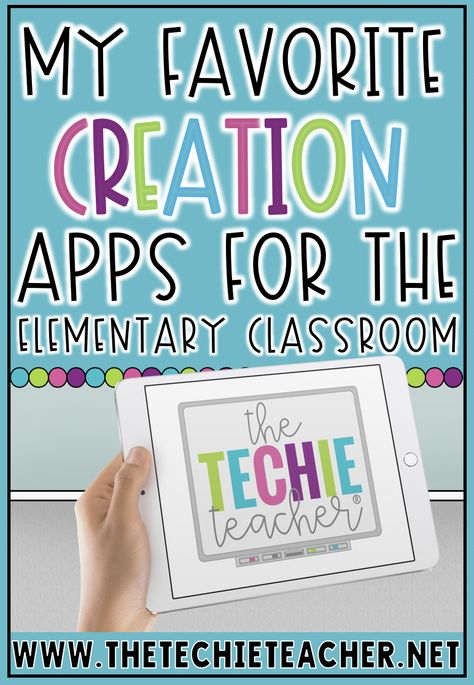 My Favorite Creation Apps for the Elementary Classroom. Technology in today's classroom is so much more powerful than a child logging into a program and playing learning games. Students now have the ability to become. Technology Lessons, Teaching Technology, Educational Technology, Technology Integration, Technology Tools, Technology Design, Energy Technology, Technology In Classroom, Computer Lessons
