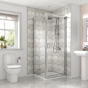 Wickes 900mm Wickes Square Pivot Semi Frameless Recess Cubicle Shower Door Chrome Frameless Shower Enclosures Frameless Shower Shower Enclosure