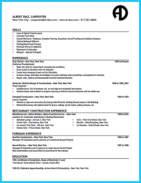 nice Tips You Wish You Knew to Make the Best Carpenter Resume - resume for carpenter