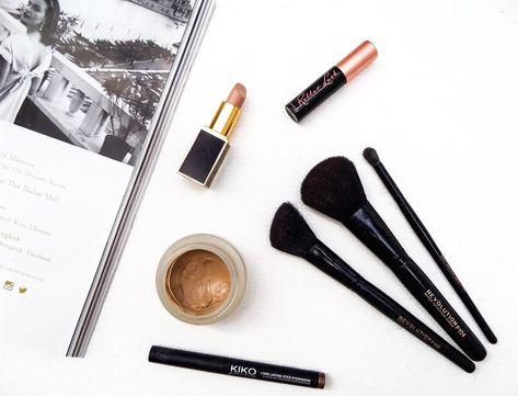 Kiko Long Lasting Stick Eyeshadow, Benefit Cosmetics Roller Lash Mascara, Tom Ford Vanilla Suede Lipstick , Laura Mercier Creme Smooth Foundation,The Makeup Revolution Makeup Brushes, FOTD Spring, Spring Makeup,