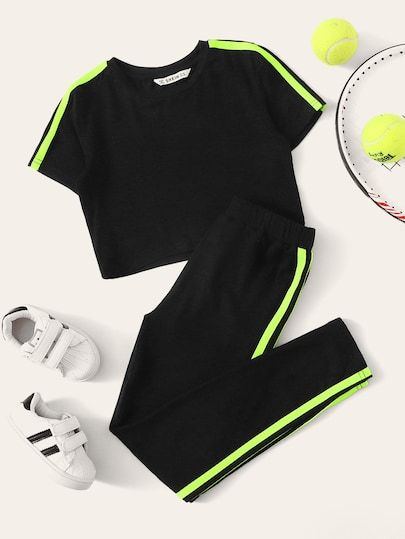 Girls Side Striped Top & Elastic Waist Pants Set Check out this Girls Side Striped Top & Elastic Waist Pants Set on Shein and explore more to meet your fashion needs!