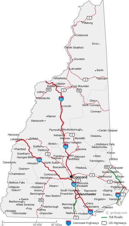 Map Of New Hampshire Cities STATE OF NEW HAMPSHIRE USA Pinterest - Us highway map with cities and states