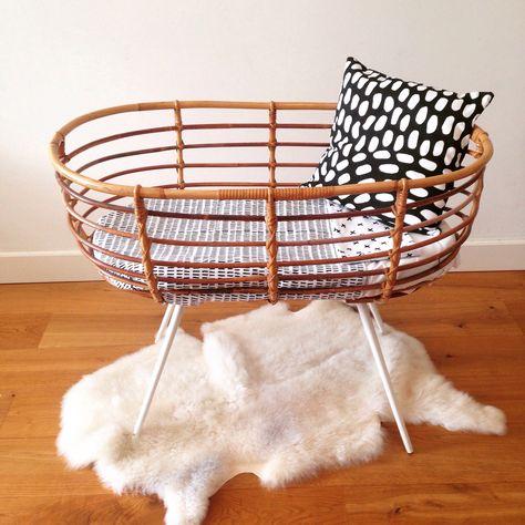 VTG Rattan Crib // Baby CRIB Bed Craddle Newborn // Mid ...