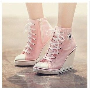 Summer Black Blue Pink White Wedges High Heels Shoes Lace Up Candy ...