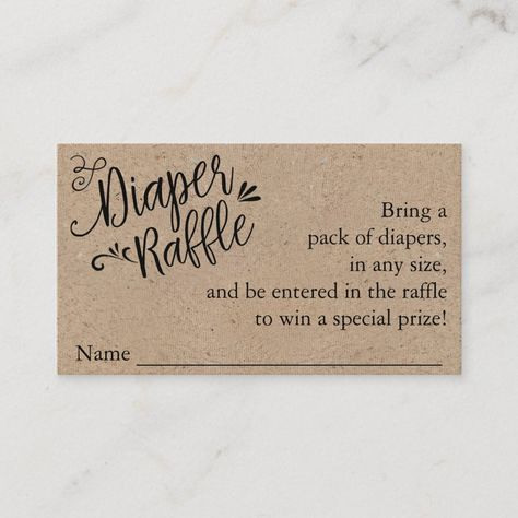 Shop Rustic Baby Shower Diaper Raffle Ticket, Kraft Enclosure Card created by FancyShmancyNotes. Personalize it with photos & text or purchase as is! Baby Shower Boho, Baby Shower Brunch, Simple Baby Shower, Baby Shower Diapers, Baby Boy Shower, Diaper Raffle Baby Shower, Baby Shower Crafts, Baby Shower Stuff, Burlap Baby Showers