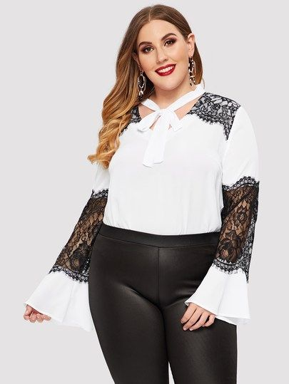c1e52f0145 Shein Plunging Neck Pompom Detail Lace Insert Top in 2019 | Products | Lace  insert, Tops, Lace