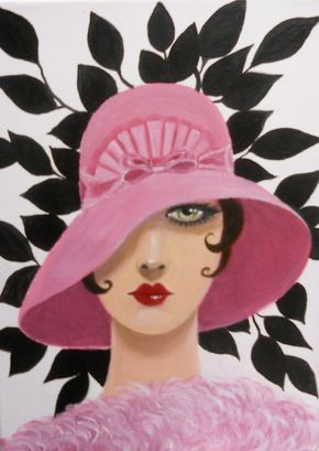 Original Acrylic Portrait Painting Of A Stylized Art Deco Woman
