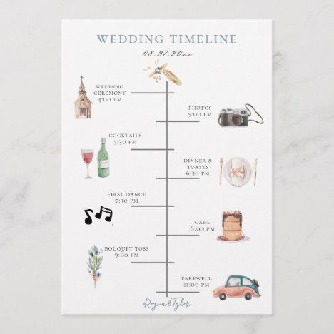 Shop Rustic Watercolor Blush Plum Wedding Timeline Program created by PoshPaperCo. Personalize it with photos & text or purchase as is!