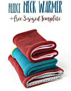 Fleece neck warmer tutorial: this easy beginner sewing tutorial will teach you how to make a warm and cozy reversible fleece neck warmer. And here's a free template for you to avoid guessing and to make this cowl scarf a quick and easy-sew. Fleece Hats, Fleece Scarf, Diy Scarf, Cowl Scarf, Fleece Blankets, Knit Cowl, Fleece Fabric, Fleece Projects, Easy Sewing Projects
