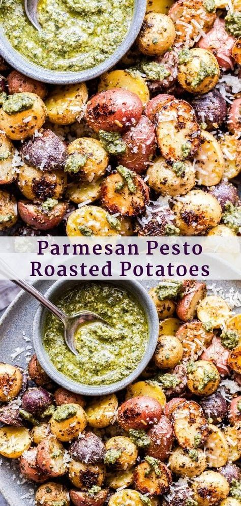 These four ingredient Parmesan Pesto Roasted Potatoes will become a staple side dish in your home! They only take minutes to prepare and the bold flavors of the parmesan cheese and pesto are sure to win you over! #potatoes #roasting #parmesan #pesto #sidedish #glutenfree #vegetarianrecipes #easyrecipes