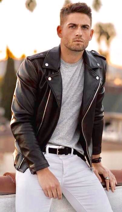 Classic Cycle Jacket With White Pants Denim Outfit Men Mens Fashion White Mens Fashion Smart