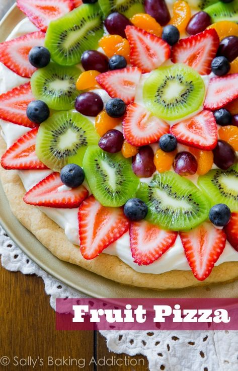 You can't beat a classic! This colorful, delicious Fruit Pizza has the works and is baked on my soft sugar cookie crust. #Rainbow party food ideas