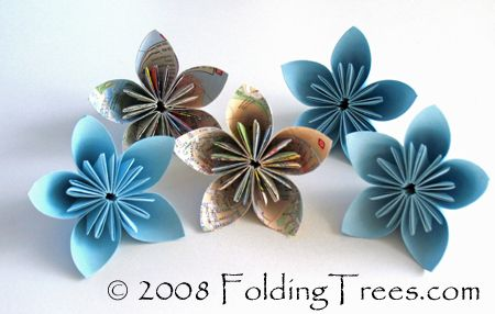 Create the pretty kusudama flowers out of paper and add them to a vase or glue them on a wreath.