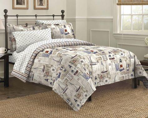 Cape Cod Seaside Sailing Nautical Bedding Comforter Set Amazon Co