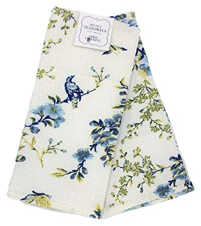 April Cornell Blue Yellow Floral White Kitchen Towel Set White