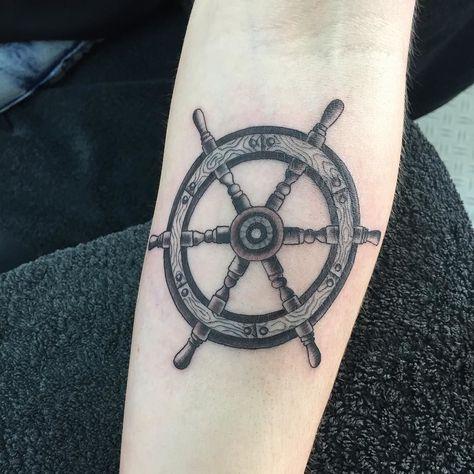 Neat little ships wheel #nauticaltattoo #shipswheeltattoo #blackandgrey…