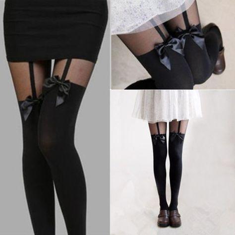 Women Girls Temptation Sheer Mock Suspender Tights Pantyhose Stockings BR