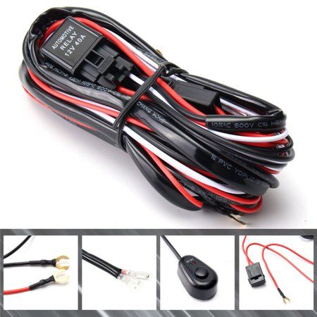 LED Light Bar Wiring Harness Loom Relay Kit with ON-OFF Switch For Truck Jeep