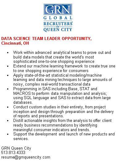DATA SCIENCE TEAM LEADER OPPORTUNITY, Cincinnati, OH GRN Queen - team lead resume