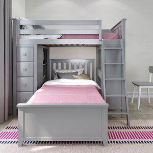 Harriet Bee Ayres Twin Loft Bed With Drawers And Shelves Reviews Wayfair Em 2021 Quartos Com Beliche Beliche Quartos